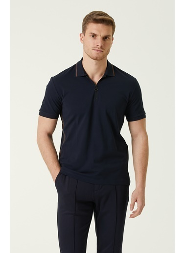 NetWork Erkek 1078381 Slim Fit Polo Yaka Şeritli T-shirt Lacivert